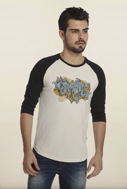 Jack & Jones White And Black Graphic Print Crew T-Shirt