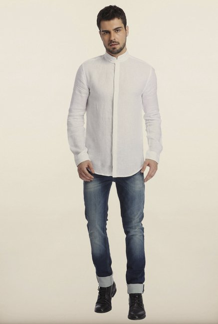 Jack & Jones White Linen Casual Shirt