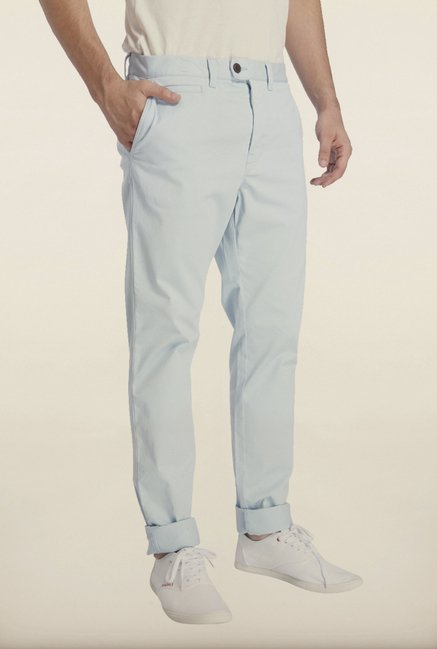 Jack & Jones Blue Solid Chinos