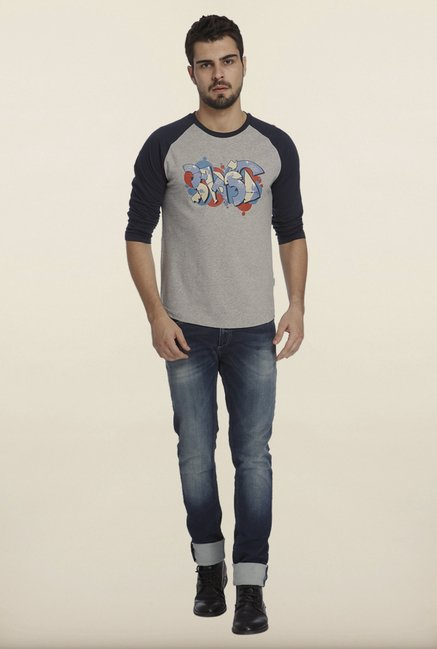 Jack & Jones Grey And Navy Graphic Print Crew T-Shirt