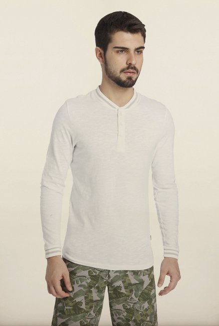 Jack & Jones White Solid Henley T-Shirt