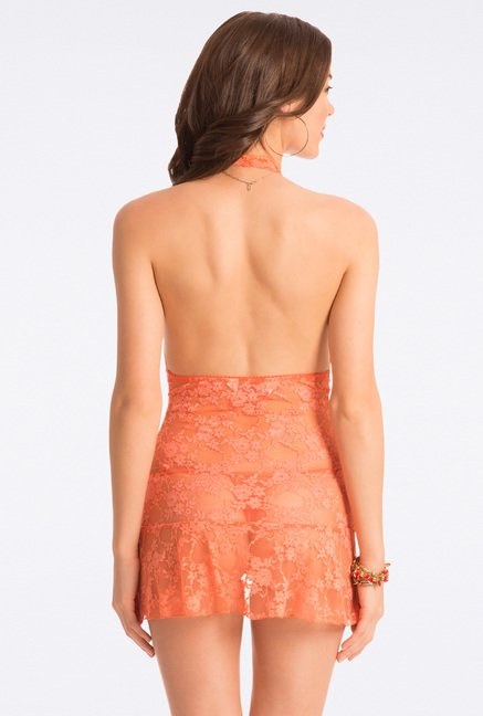 Pretty Secrets Orange Lace Babydoll