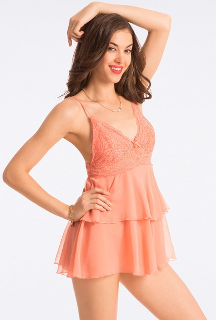 Pretty Secrets Peach Lace Babydoll