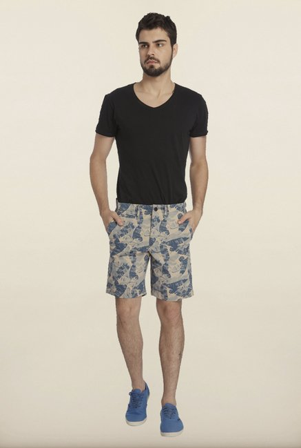 Jack & Jones Beige And Blue Tropical Printed Shorts