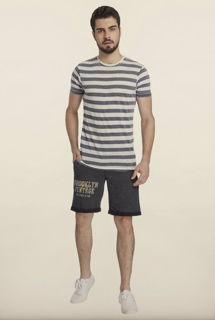 Jack & Jones Blue And White Striped Crew T-Shirt