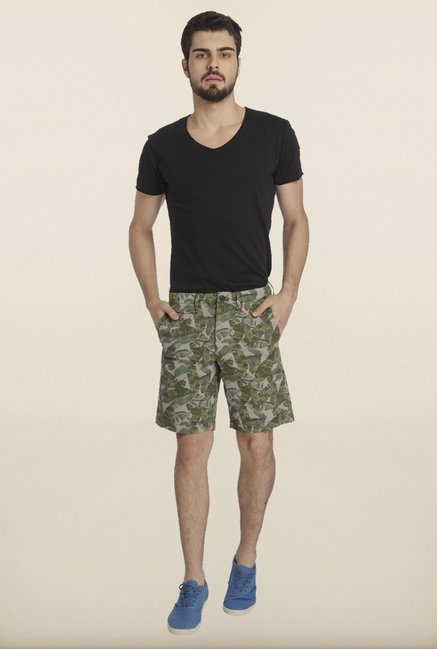 Jack & Jones Grey And Green Tropical Printed Shorts