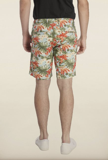 Jack & Jones Aqua And Red Floral Printed Shorts