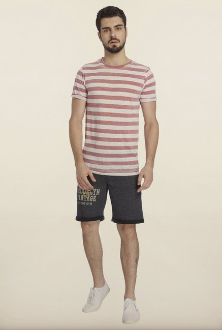 Jack & Jones Pink And White Striped Crew T-Shirt