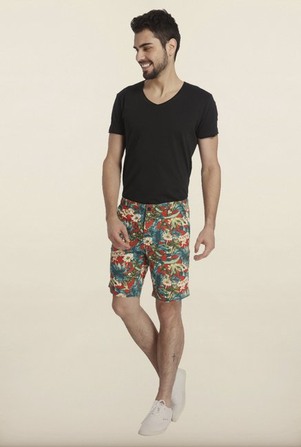 Jack & Jones Red And Blue Floral Print Casual Shorts