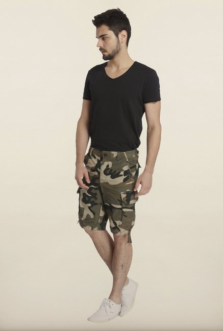 Jack & Jones Green And Beige Camo Print Shorts