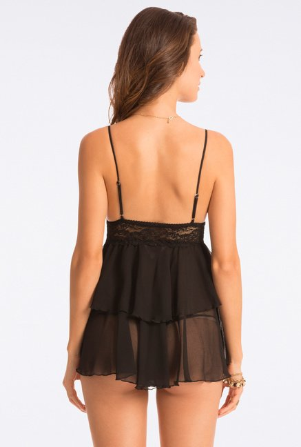 Pretty Secrets Flattering Black Lace Babydoll