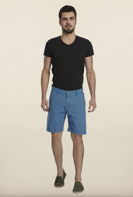 Jack & Jones Blue Solid Linen Shorts