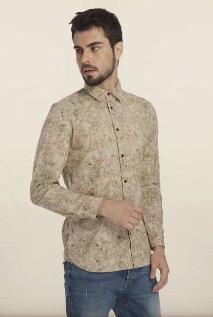 Jack & Jones Beige Tropical Print Casual Shirt