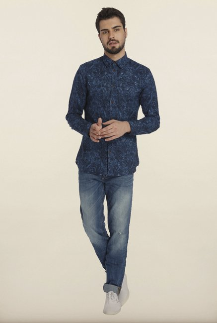 Jack & Jones Blue Tropical Print Casual Shirt