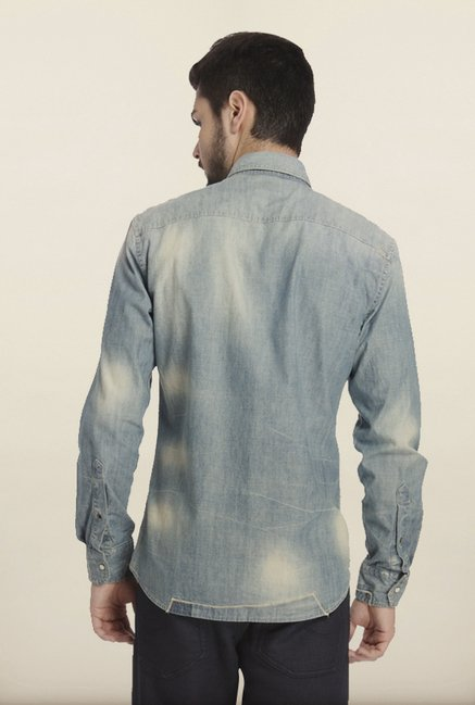 Jack & Jones Denim Blue Washed Casual Shirt