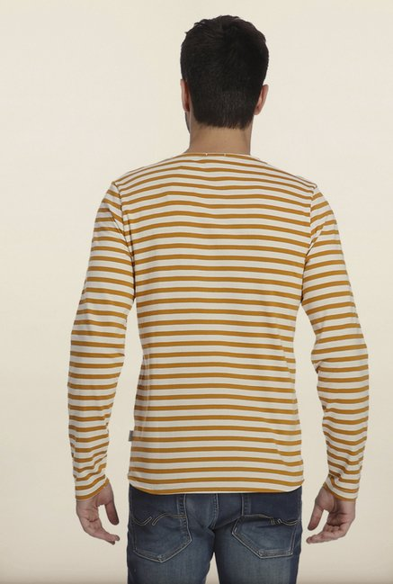 Jack & Jones Yellow And White Striped Crew T-Shirt