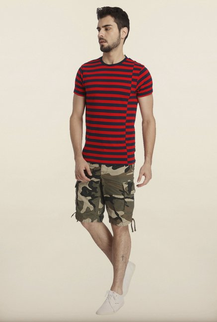 Jack & Jones Red And Navy Striped Crew T-Shirt