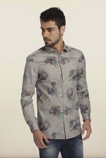 Jack & Jones Grey Printed Casual Shirt