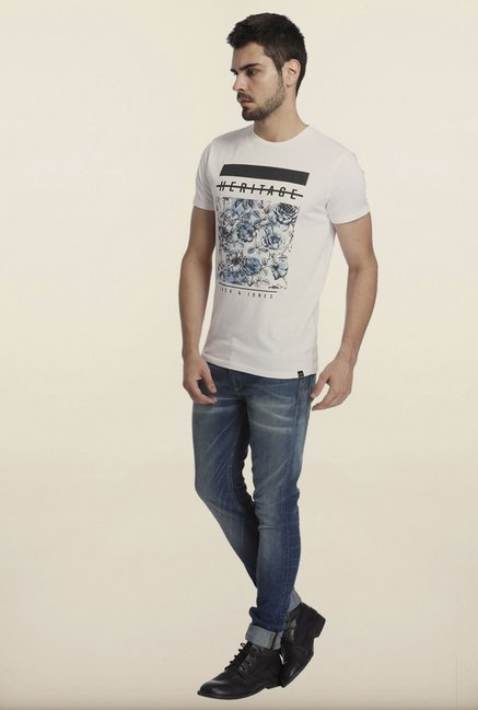 Jack & Jones White Graphic Print Crew T-Shirt