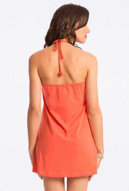 PrettySecrets Orange Solid Halter Dress