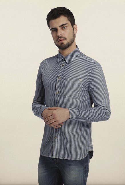 Jack & Jones Blue Striped Casual Shirt