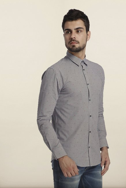 Jack & Jones Grey Checks Casual Shirt