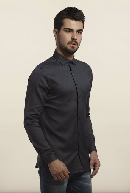 Jack & Jones Black Self Print Casual Shirt