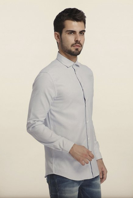 Jack & Jones White Self Print Casual Shirt