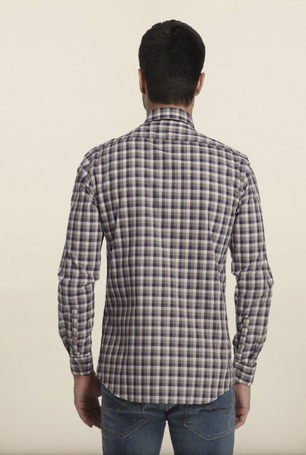 Jack & Jones Blue & Beige Checks Casual Shirt