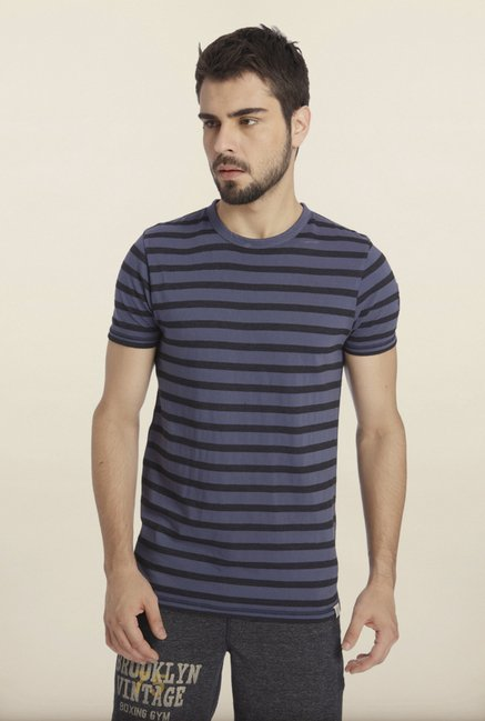 Jack & Jones Blue And Black Striped Crew T-Shirt