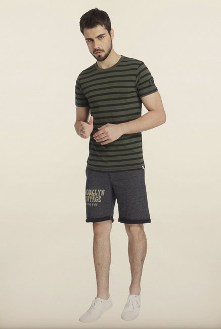 Jack & Jones Dark Green And Black Striped Crew T-Shirt