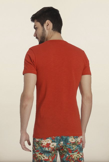 Jack & Jones Red Printed Crew T-Shirt