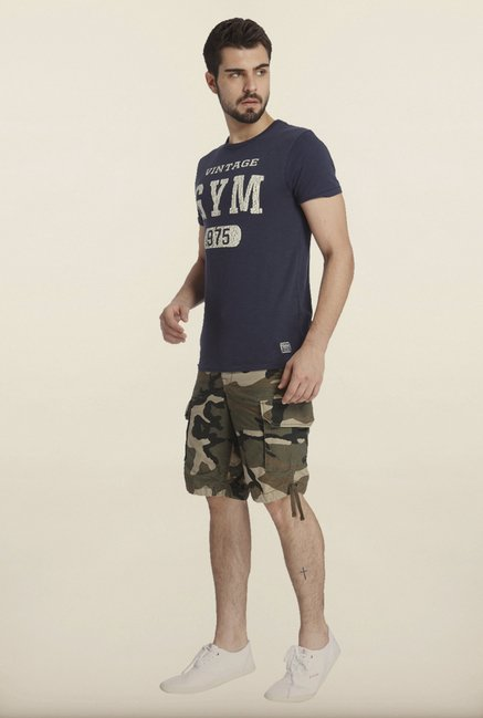 Jack & Jones Navy Printed Crew T-Shirt