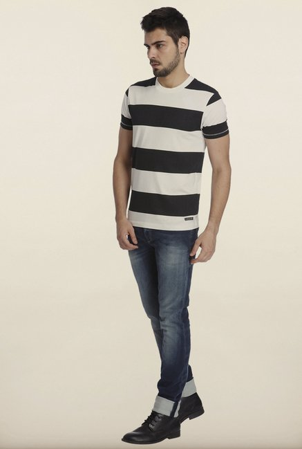 Jack & Jones White And Black Striped Crew T-Shirt