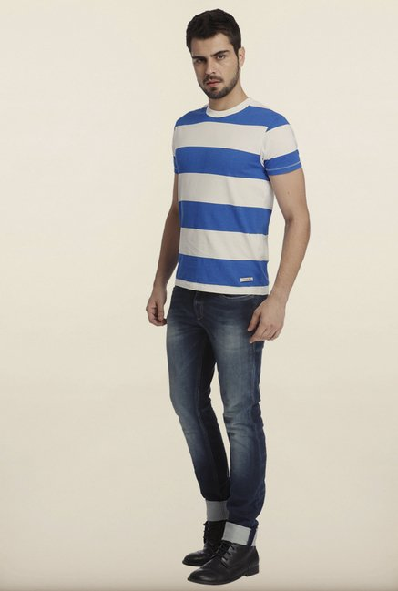 Jack & Jones White And Blue Striped Crew T-Shirt