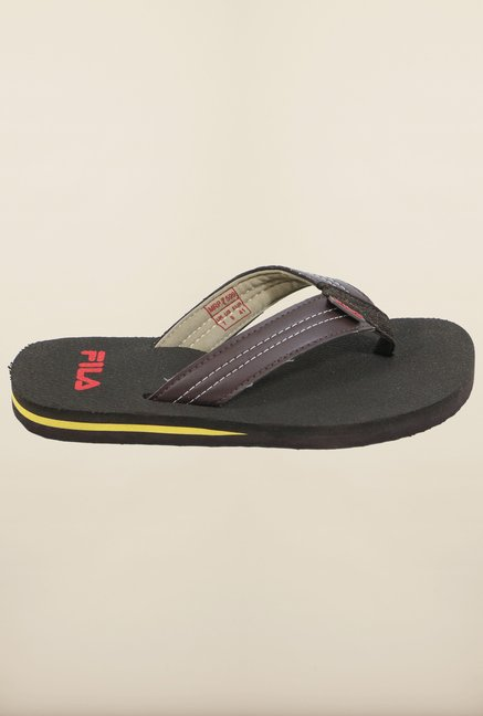 Fila Pamper Brown & Black Flip Flops