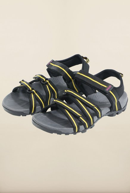 Fila Gabor II Black & Yellow Floater Sandals