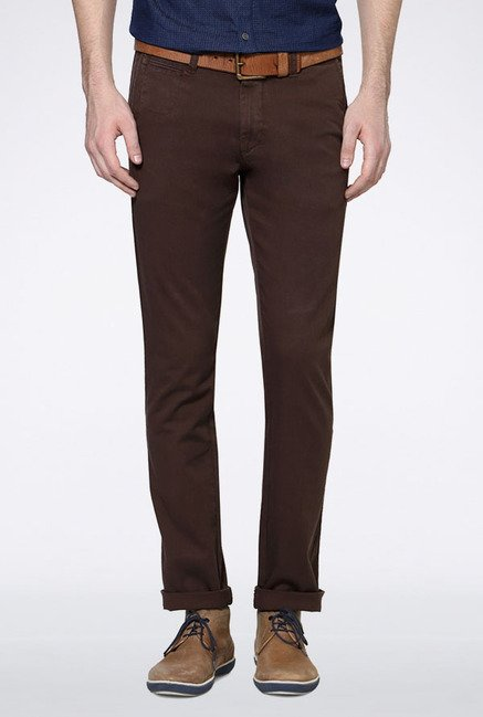 Allen Solly Brown Mid Rise Casual Trouser