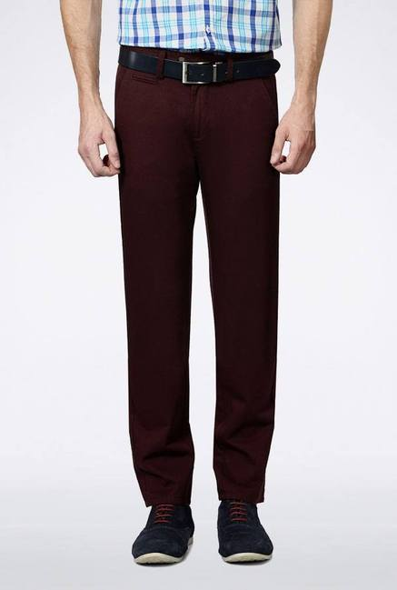 Peter England Maroon Solid Casual Trouser