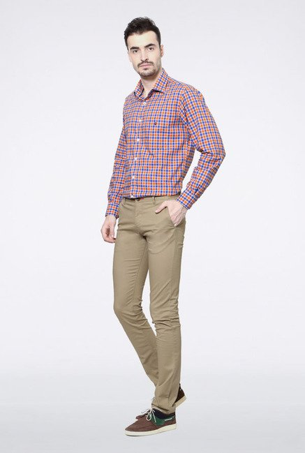 Allen Solly Beige Slim Fit Casual Trouser