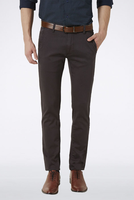 Peter England Brown Solid Casual Trouser