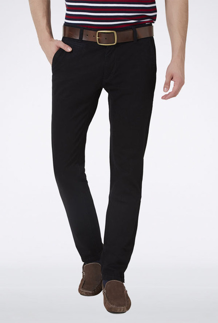 Peter England Black Slim Fit Casual Trouser