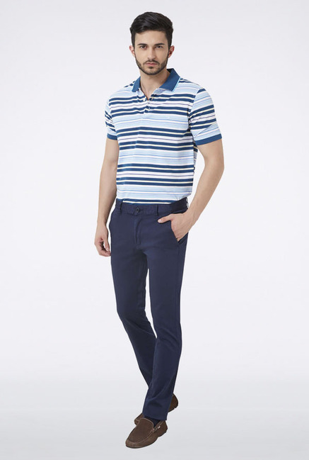 Peter England Blue Solid Casual Trouser