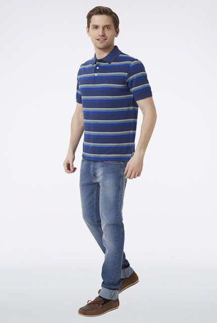 Peter England Blue Striped Polo T-Shirt