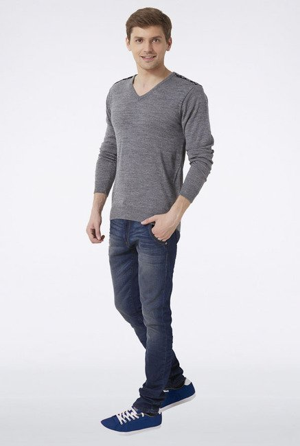 Peter England Grey Solid Sweater