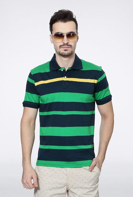 Allen Solly Green & Blue Striped Polo T-Shirt