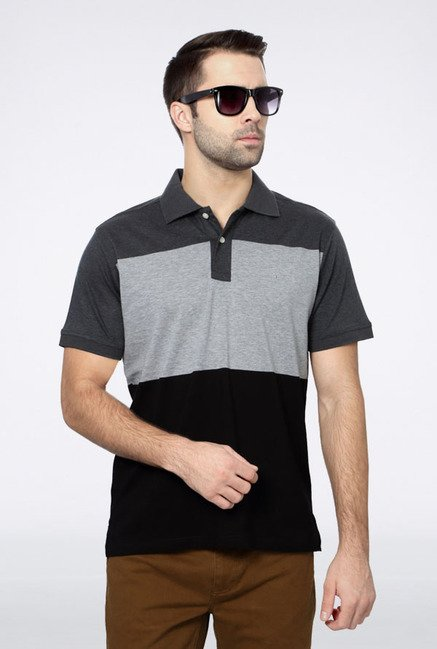 Allen Solly Grey & Black Polo T-Shirt