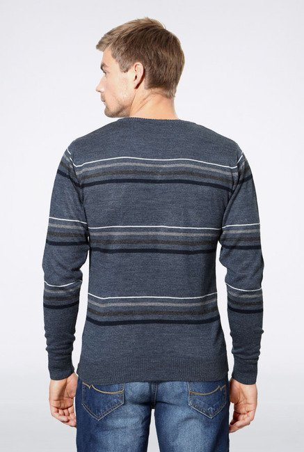 Peter England Grey Striped Sweater