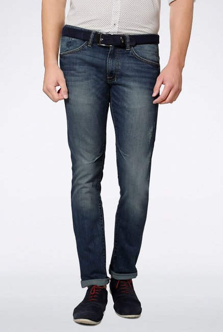 Allen Solly Dark Blue Lightly Washed Jeans