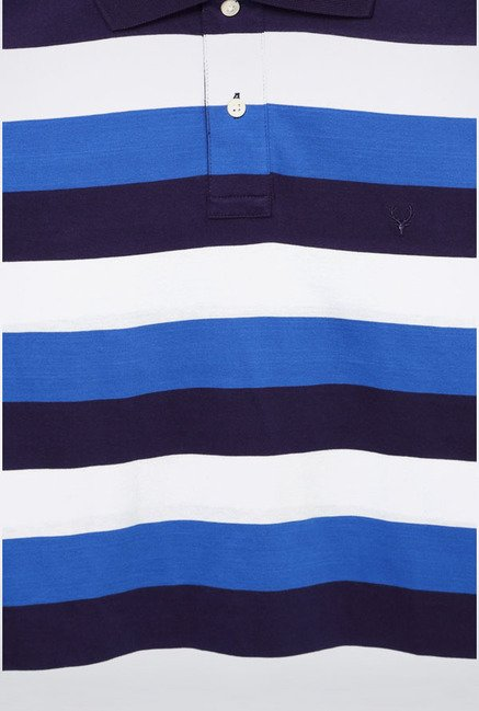 Allen Solly Blue & White Striped Polo T-Shirt